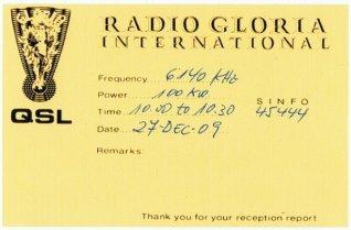QSL Radio Gloria Internacional