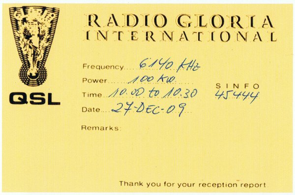 QSL Radio Gloria Internacional