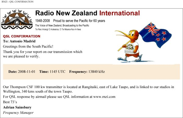 E-QSL Radio New Zeland