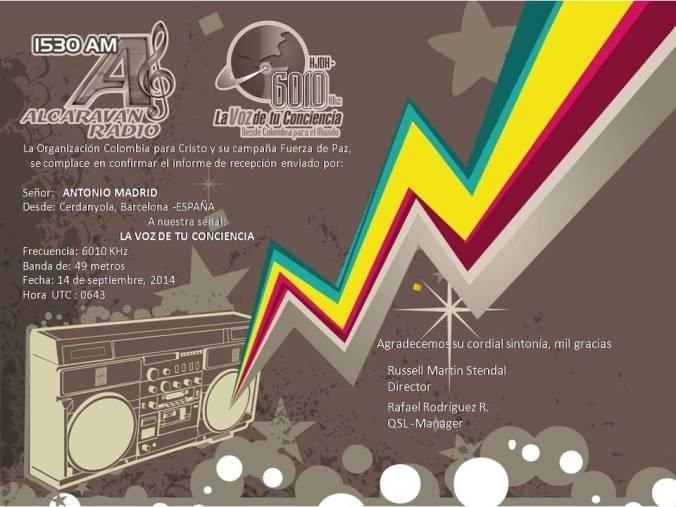 QSL de La Voz de la Conciencia - Colombia