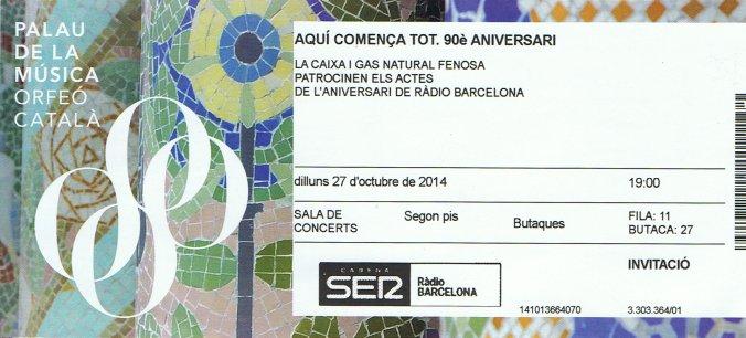 Entrada 90 Aniversario de Radio Barcelona
