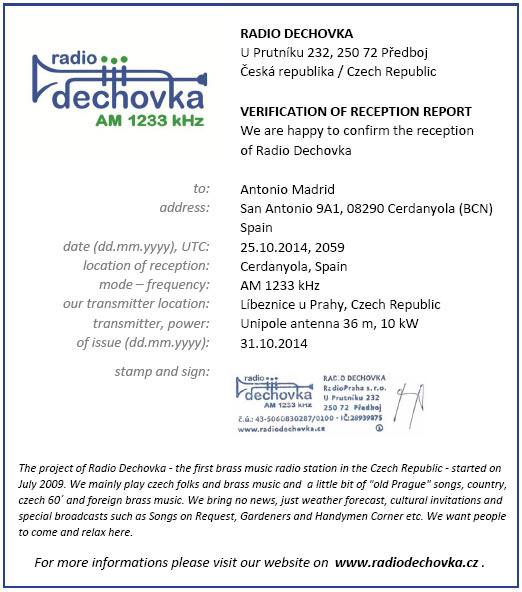 E-QSL Radio Dechovka