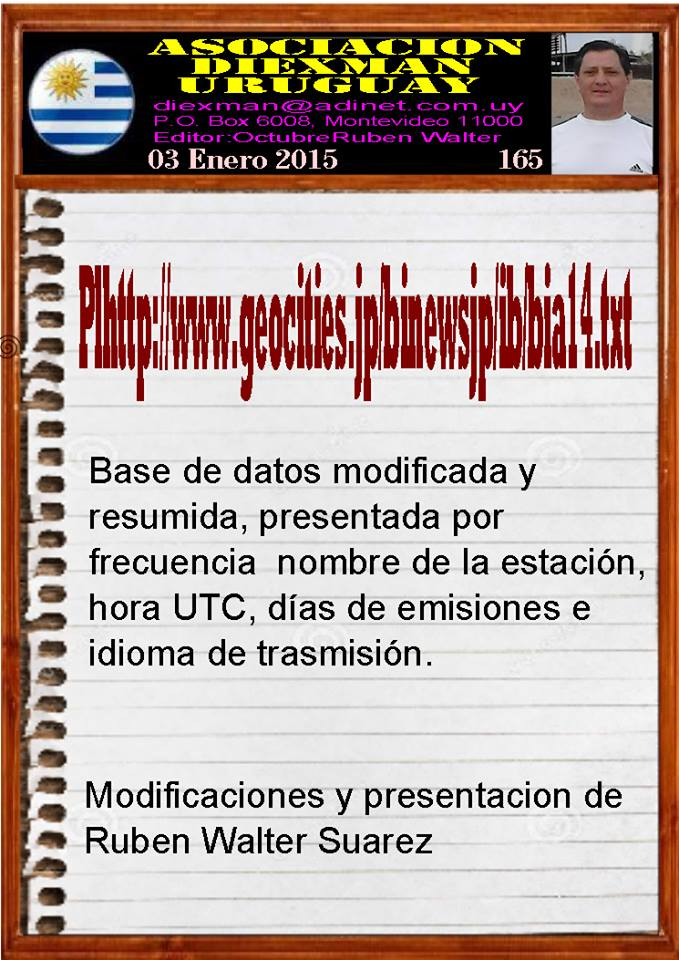 Disponible el boletin 165 de la Asociacion Diexman Uruguay