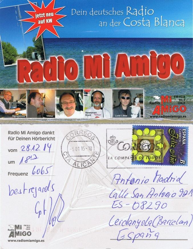 QSL de Radio Mi Amigo