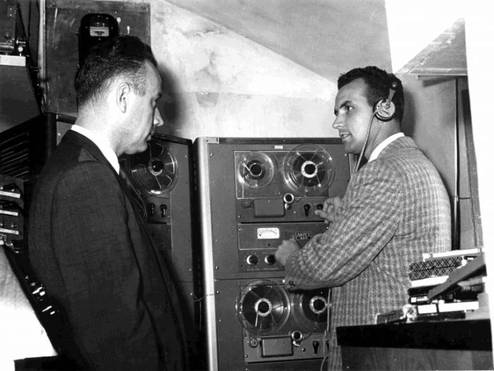 Paul Freed and Burt Reed in the studio in Tangier, 1957 (Photo courtesy of TWR)